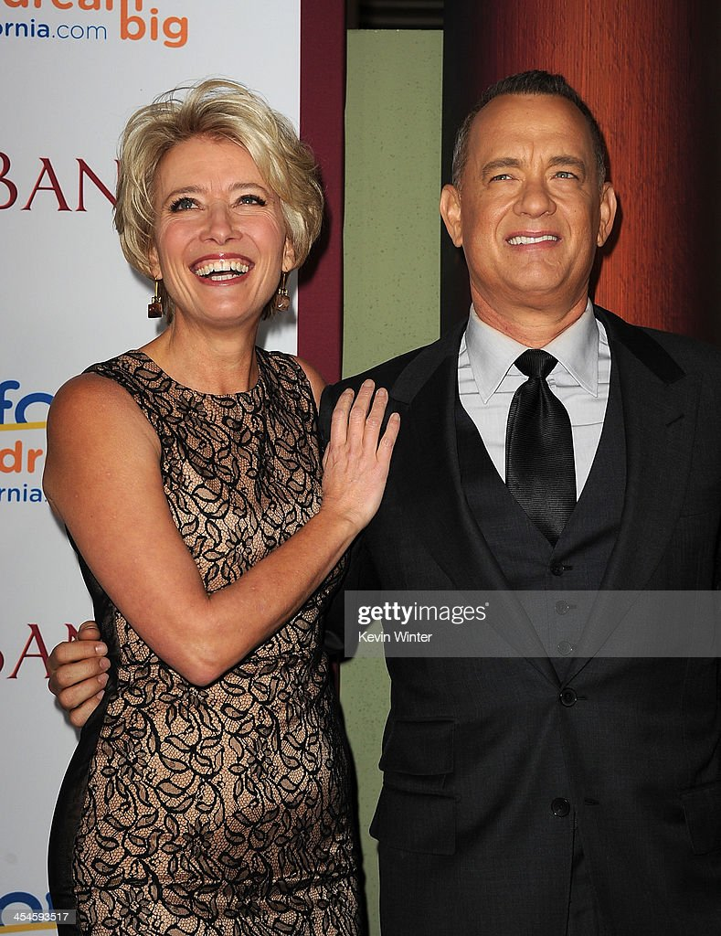 Actors Emma Thompson and Tom Hanks attend the U.S. premiere of Disney's 'Saving Mr. Banks', the untold backstory of how the classic film 'Mary Poppins' made it to the screen, at the Walt Disney Studios on December 9, 2013 in Burbank, California. The film opens this Holiday season.