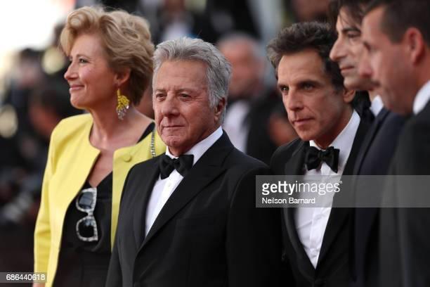 Actors Emma Thompson Dustin Hoffman Ben Stiller director Noah Baumbach and actor Adam Sandler attend 'The Meyerowitz Stories' screening during the...