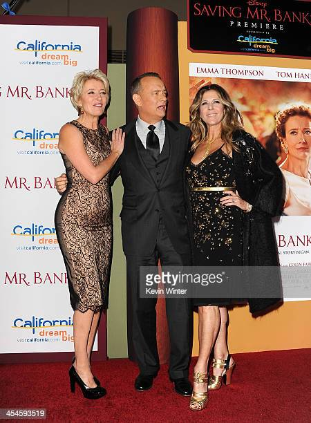 Actors Emma Thompson Tom Hanks and Rita Wilson attend the US premiere of Disney's Saving Mr Banks the untold backstory of how the classic film Mary...