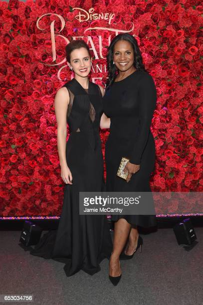 Actors Emma Watson and Audra McDonald pose backstage at the New York special screening of Disney's liveaction adaptation 'Beauty and the Beast' at...