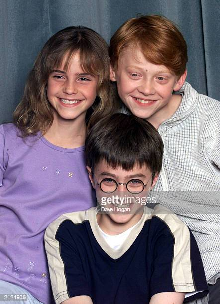 "Actors Emma Watson , Daniel Radcliffe and Rupert Grint attend a press conference for the movie ""Harry Potter and The Philosopher's Stone"" in London..."