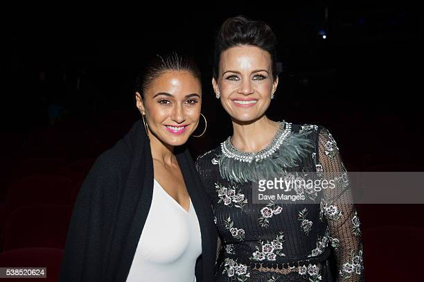 "Actors Emmanuelle Chriqui and Carla Gugino attend the premiere for Showtime's ""Roadies"" at The Theatre at Ace Hotel on June 6, 2016 in Los Angeles,..."