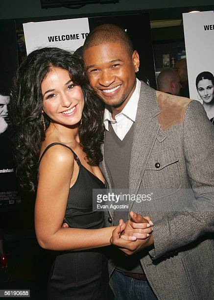 Actors Emmanuelle Chriqui and Usher Raymond attend the premiere of In The Mix at the Chelsea West Cinemas November 16 2005 in New York City