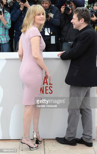 Actors Emmanuelle Seigner and Mathieu Amalric attend the photocall for 'La Venus A La Fourrure' at The 66th Annual Cannes Film Festival at the Palais...