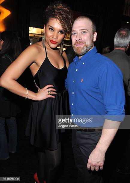 Actors Emmy RaverLampman and Doug Storm attend the opening night after party of 'Jekyll Hyde' held at Beso on February 12 2013 in Hollywood California