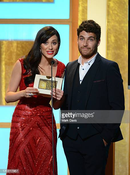 Actors Emmy Rossum and Adam Pally speak onstage during Broadcast Television Journalists Association's third annual Critics' Choice Television Awards...