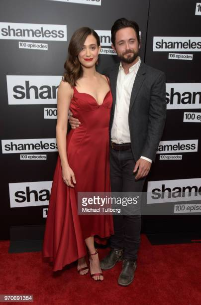 Actors Emmy Rossum and Justin Chatwin attend the celebration of the 100th episode of Showtime's Shameless at DREAM Hollywood on June 9 2018 in...