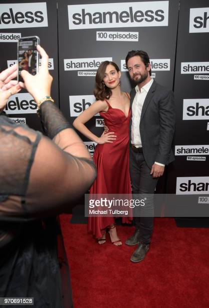 Actors Emmy Rossum and Justin Chatwin attend the celebration of the 100th episode of Showtime's 'Shameless' at DREAM Hollywood on June 9 2018 in...