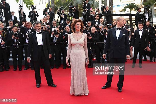Actors Enrico Lo Verso Sophia Loren and director Edoardo Ponti attend the Premiere of Voce Umana at the 67th Annual Cannes Film Festival on May 20...