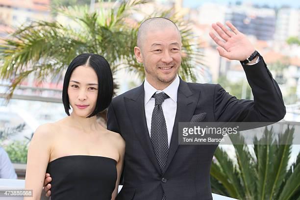 Actors Eri Fukatsu and Tadanobu Asano attend the 'Kishibe No Tabi' photocall during the 68th annual Cannes Film Festival on May 17 2015 in Cannes...