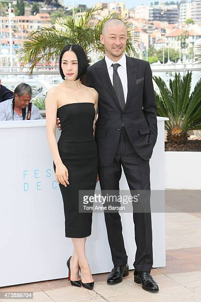 Actors Eri Fukatsu and Tadanobu Asano attend the 'Kishibe No Tabi' photocall during the 68th annual Cannes Film Festival on May 17 2015 in Cannes...