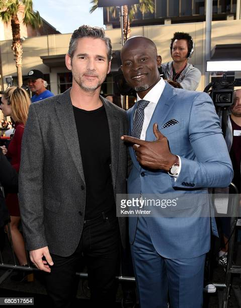 Actors Eric Bana and Djimon Hounsou attend the premiere of Warner Bros Pictures' 'King Arthur Legend Of The Sword' at TCL Chinese Theatre on May 8...