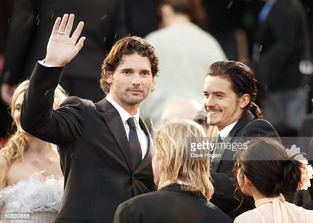 Actors Eric Bana and Orlando Bloom attend the World Premiere of epic movie Troy at Le Palais de Festival on May 13 2004 in Cannes France
