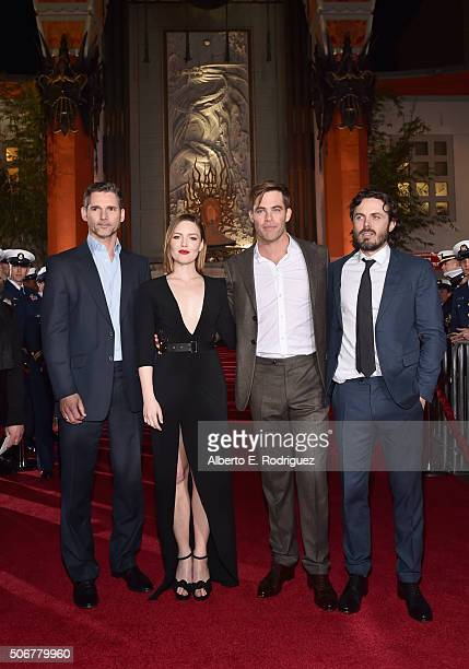 "Actors Eric Bana Holliday Grainger Chris Pine and Casey Affleck and the cast of Disney's ""The Finest Hours"" were greeted by the US Coast Guard Band..."
