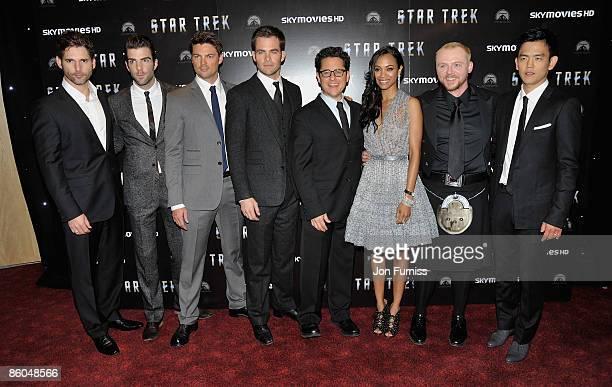 Actors Eric Bana Zachary Quinto Karl Urban Chris Pine director JJ Abrams actors Zoe Saldana Simon Pegg and John Cho attend the 'Star Trek' film...