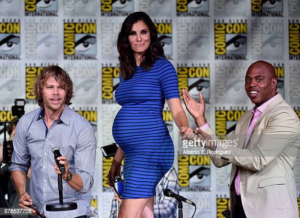 Actors Eric Christian Olsen and Daniela Ruah and moderator Kevin Frazier attend CBS Television Studios Block including 'Scorpion' 'American Gothic'...