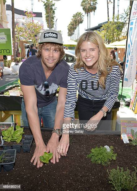 Actors Eric Christian Olsen and Sarah Wright attend the world premiere Of Disney's Monkey Kingdom at Pacific Theatres at The Grove on April 12 2015...