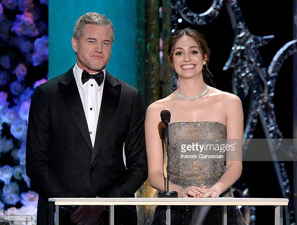 Actors Eric Dane and Emmy Rossum speak onstage at the 21st Annual Screen Actors Guild Awards at The Shrine Auditorium on January 25 2015 in Los...
