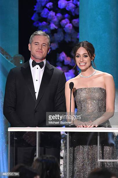 Actors Eric Dane and Emmy Rossum speak onstage at TNT's 21st Annual Screen Actors Guild Awards at The Shrine Auditorium on January 25 2015 in Los...