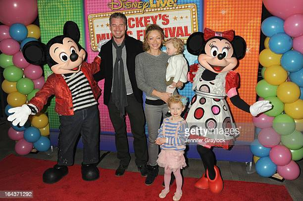 Actors Eric Dane and Rebecca Gayheart Billie Beatrice Dane and Georgia Dane attend Disney Live Mickey's Music Festival at Madison Square Garden on...
