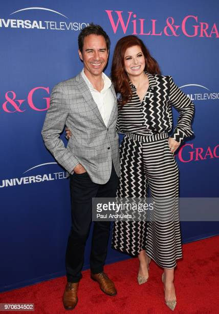 """Actors Eric McCormack and Debra Messing attend NBC's """"Will & Grace"""" FYC event at The Harmony Gold Theatre on June 9, 2018 in Los Angeles, California."""