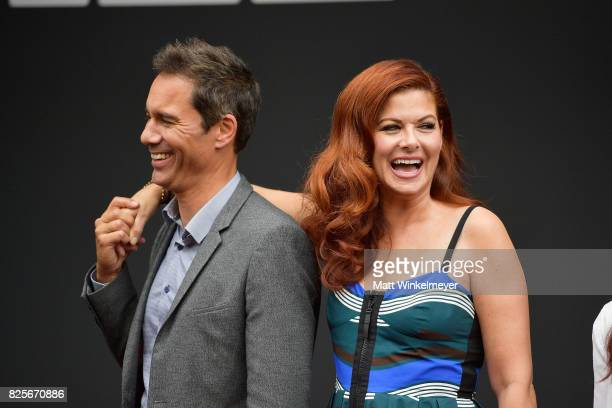 Actors Eric McCormack and Debra Messing attend the Will Grace ribbon cutting Ceremony on August 2 2017 in Los Angeles California