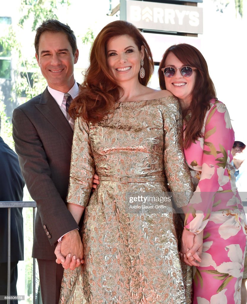 Actors Eric McCormack, Debra Messing and Megan Mullally attend the ceremony honoring Debra Messing with star on the Hollywood Walk of Fame on October 6, 2017 in Hollywood, California.