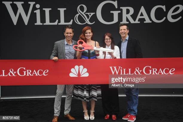 Actors Eric McCormack Debra Messing Megan Mullally and Sean Hayes at the 'Will Grace' Ribbon Cutting Ceremony held on August 2 2017 in Los Angeles...