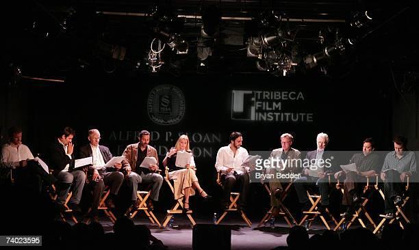 Actors Eric Miller Jeremy Shamos Alex Cranmer An Kahn Tom Bloom Daniel Gerroll Terrence Mann Olivia D'Abo Waleed Zuaiter Amir Arison onstage the...