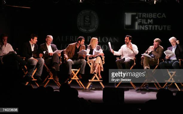 Actors Eric Miller Jeremy Shamos Alex Cranmer An Kahn Tom Bloom Daniel Gerroll Terrence Mann and Olivia D'Abo onstage the Sloan reading of A First...
