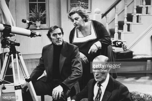 Actors Eric Sykes Hattie Jacques and Richard Wattis in a scene from the episode 'Spy Ring' of the television sitcom 'Sykes' 1973