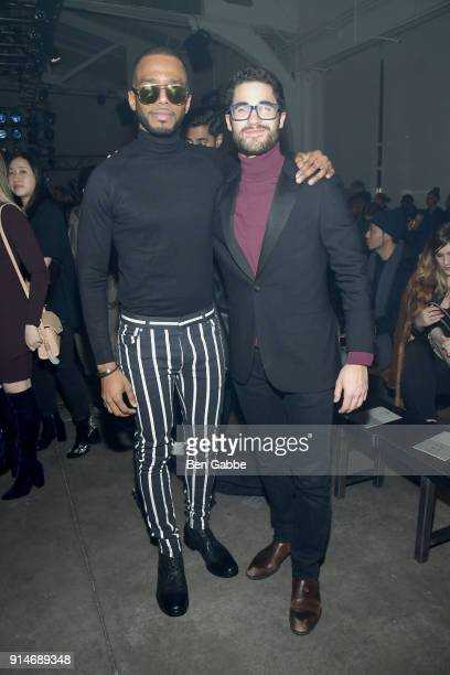 Actors Eric West and Darren Criss attend the Todd Snyder fashion show during New York Fashion Week at Pier 59 on February 5 2018 in New York City