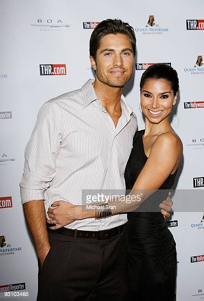 Actors Eric Winter and Roselyn Sanchez arrive to The Hollywood Reporter's Philanthropist Of The Year Award Reception held at BOA Steakhouse on...