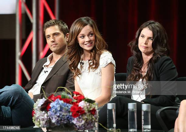Actors Eric Winter Rachel Boston and Julia Ormond speak onstage during the Witches of East End panel discussion at the Lifetime portion of the 2013...