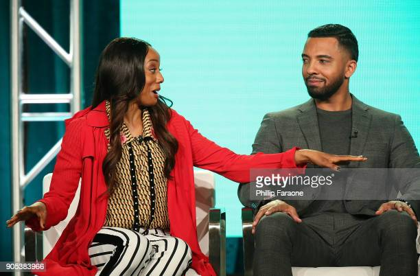 Actors Erica Ash and Christian Keyes of 'In Contempt' speak onstage during the BET Network portion of the 2018 Winter TCA on January 15 2018 in...