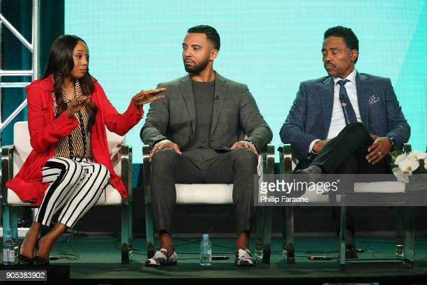 Actors Erica Ash Christian Keyes and Richard Lawson of 'In Contempt' speak onstage during the BET Network portion of the 2018 Winter TCA on January...