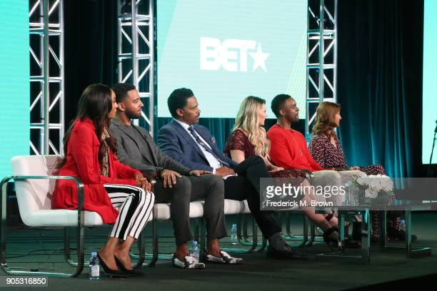 Actors Erica Ash Christian Keyes Richard Lawson Megan Hutchings and Ronnie Rowe Jr and creator/showrunner Terri Kopp of 'In Contempt' speak onstage...