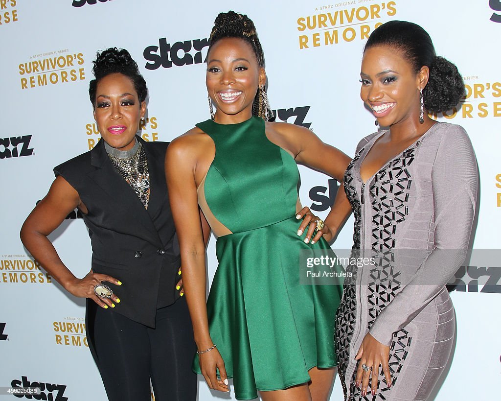 Actors Erica Ash, Teyonah Parris and Tichina Arnold attend the STARZ new series 'Survivor's Remorse' premiere at the Wallis Annenberg Center for the Performing Arts on September 23, 2014 in Beverly Hills, California.