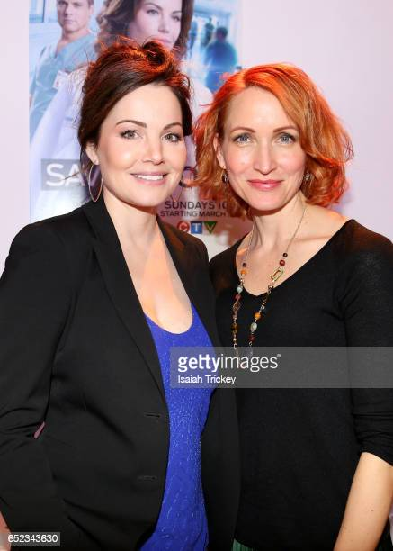 Actors Erica Durance and Michelle Nolden of the television series 'Saving Hope' attend the Academy of Canadian Cinema and Television's Family Fan Day...
