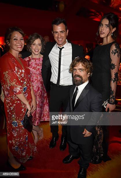 Actors Erica Schmidt Carrie Coon Justin Theroux Peter Dinklage and Margaret Qualley attend HBO's Official 2015 Emmy After Party at The Plaza at the...