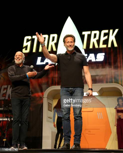 Actors Erick Avari and Steven Weber speak during the Deep Space Nine panel at the 18th annual Official Star Trek Convention at the Rio Hotel Casino...