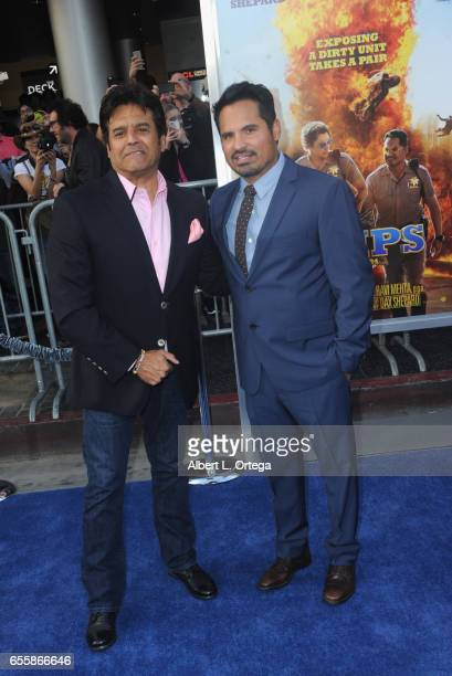 Actors Erik Estrada and Michael Peña arrive for the Premiere Of Warner Bros Pictures' CHiPS held at TCL Chinese Theatre on March 20 2017 in Hollywood...