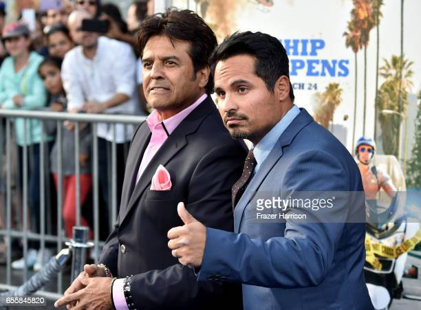 Actors Erik Estrada and Michael Pena arrives at the Premiere Of Warner Bros Pictures' CHiPS at TCL Chinese Theatre on March 20 2017 in Hollywood...