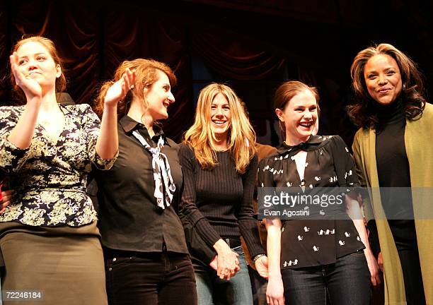 Actors Erika Christensen Nia Vardalos Jennifer Aniston Anna Paquin and Lynn Whitfield take a curtain call onstage at the 6th Annual 24 Hour Plays on...