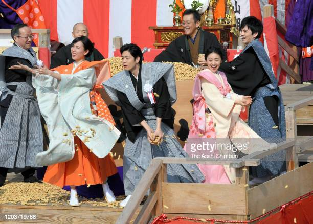 Actors Erika Toda, Kohei Matsushita, Yuko Oshima and Kento Hayashi attend the 'Mamemaki' bean scattering ceremony at Naritasan Fudoson Temple on...