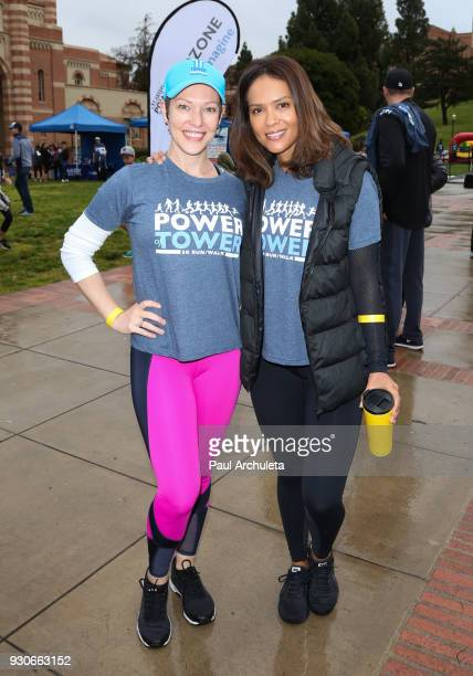 Actors Erin Cummings and Lesley Ann Brandt attend the Power Of Tower run/walk at UCLA on March 11 2018 in Los Angeles California