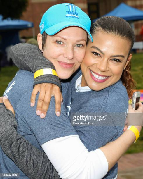 Actors Erin Cummings and Toni Trucks attend the Power Of Tower run/walk at UCLA on March 11 2018 in Los Angeles California