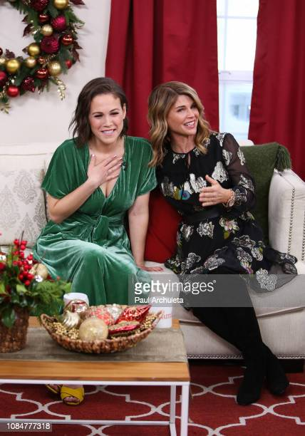 Actors Erin Krakow and Lori Loughlin visit Hallmark's Home Family at Universal Studios Hollywood on December 19 2018 in Universal City California