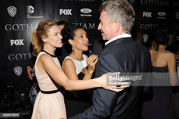 Actors Erin Richards Zabryna Guevara and Sean Pertwee attend the GOTHAM Series Premiere event on September 15 2014 in New York City