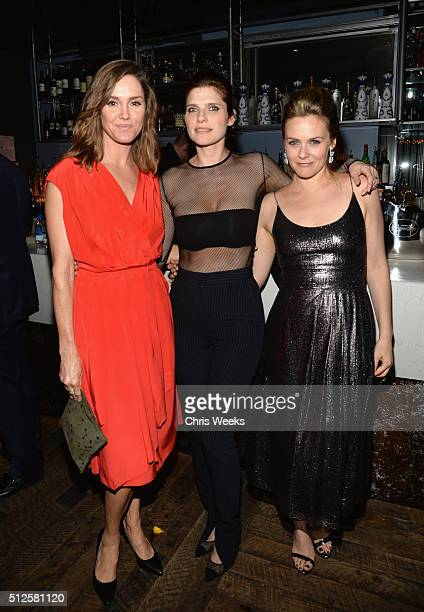 Actors Erinn Hayes Lake Bell in Max Mara and Alicia Silverstone attend Ninth Annual Women In Film PreOscar Cocktail Party Cohosted by PerrierJouët on...